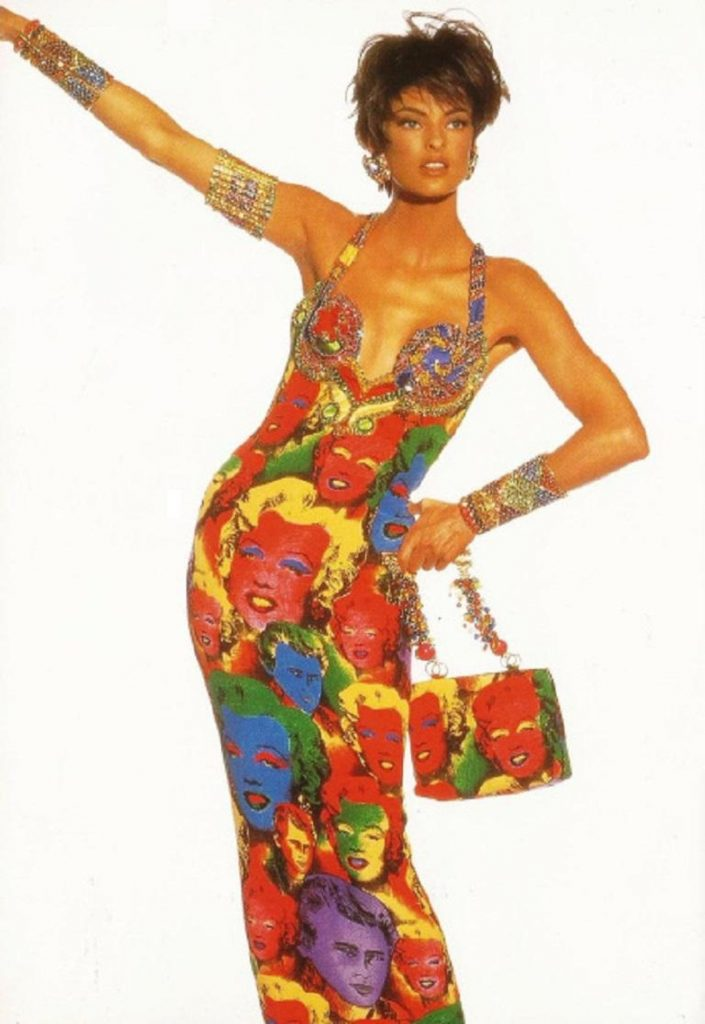 Linda Evangelista in Versace Andy Warhol dress